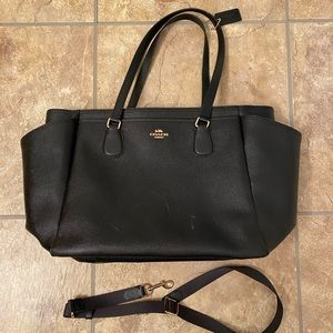COACH BABY DIAPER BAG TOTE PURSE BLK LEATHER F5778